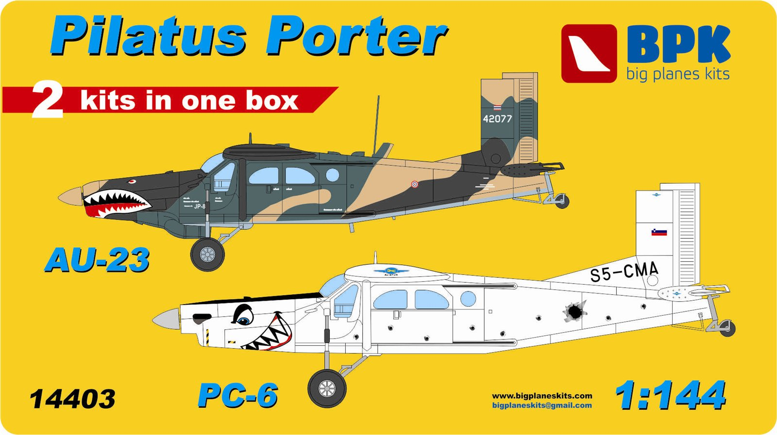 BPK 1/144 Pilatus Porter PC-6 / AU-23 Swiss utility aircraft, 2-in-1 kit