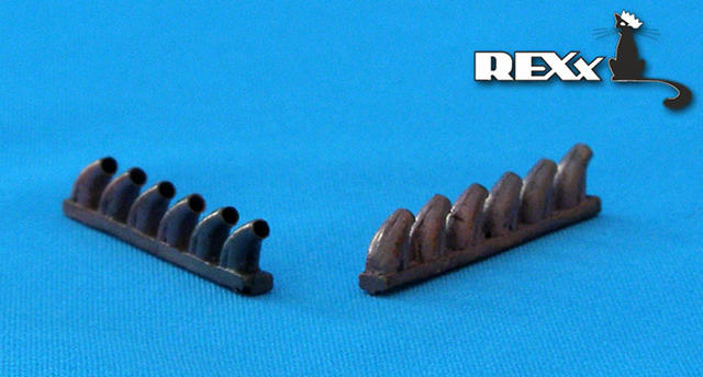 REXX metal exhaust pipes for 1/48 Bell P-39 Airacobra
