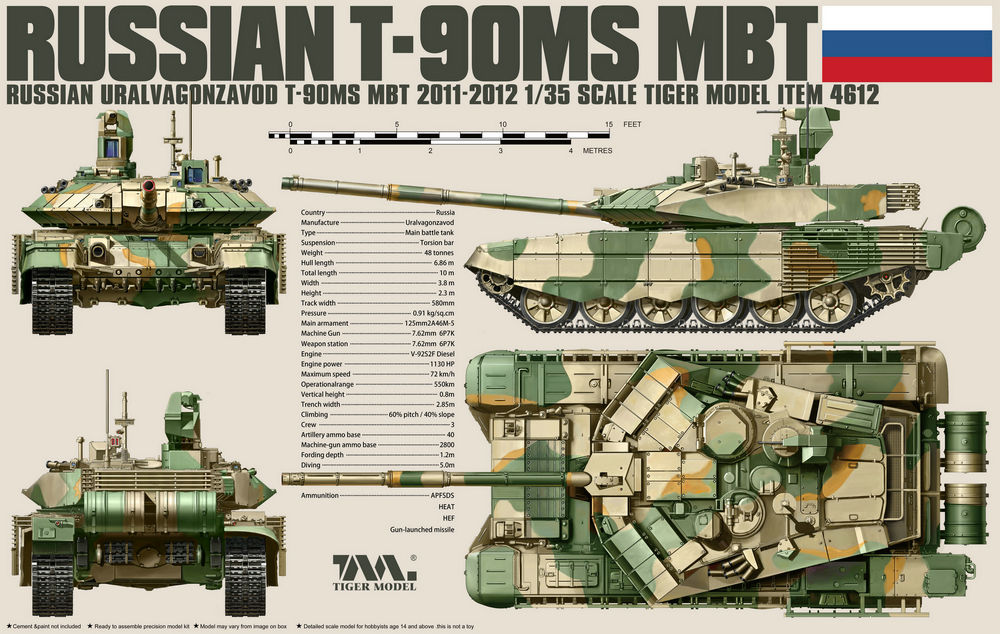 Tiger Model 1/35 T-90MS Russian battle tank