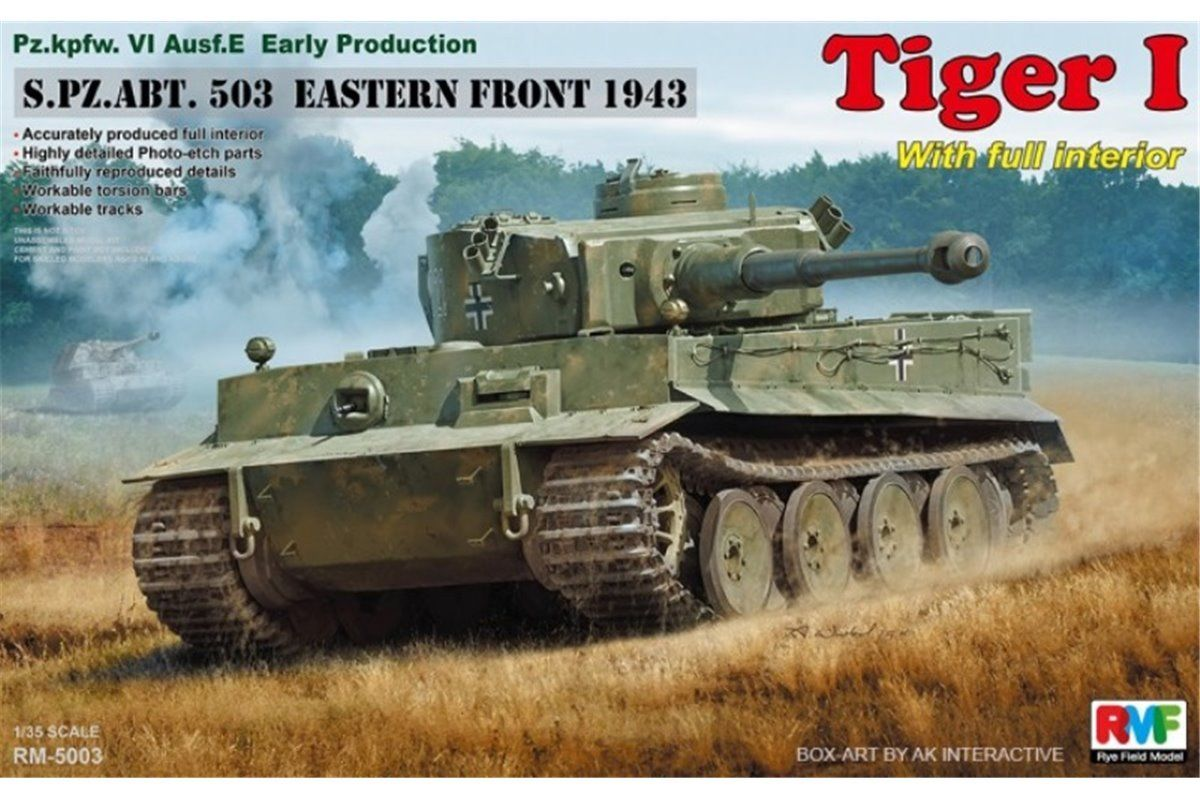 RyeField Model 1/35 Tiger I Early Production, FULL INTERIOR